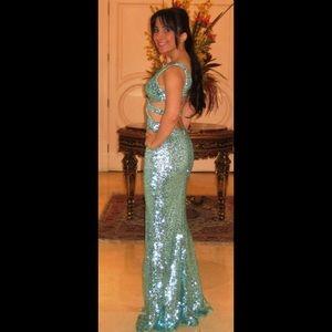 Faviana Mint/ Seafoam Sequin Cutout Dress